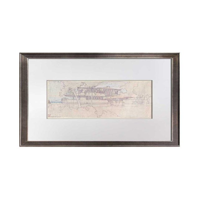 """Modern Frank Lloyd Wright Lithograph Limited Edition """"Ee Boynton House, Ny, Framed For Sale - Image 3 of 5"""