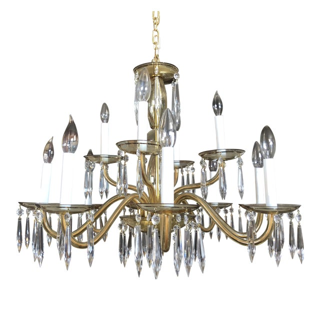 1950s Mid-Century Modern Amber Murano Glass Two Tier 12 Light Chandelier For Sale