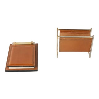 Delvaux Paris Leather and Brass Note Pad and Letter Rack Desk Set For Sale