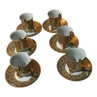 Art Deco Porcelain Gold Collection Tea Set Saucers and Cups - Service for 6 For Sale