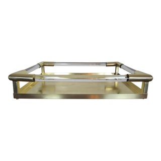 Vintage Brass and Lucite Tray For Sale