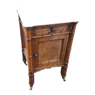 19th Century French Bird's-Eye Maple Faux Bamboo Marble Top Commode For Sale