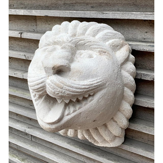 1950s Modern Cast Stone Lion Wall Sculpture For Sale - Image 4 of 4