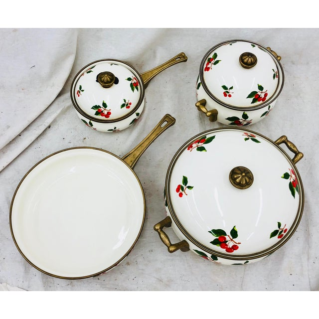 Stunning & Fabulous Vintage Mid Century White Enamel Cooking Set. Covered with Adorable & Kitschy Cherry Designs all over....