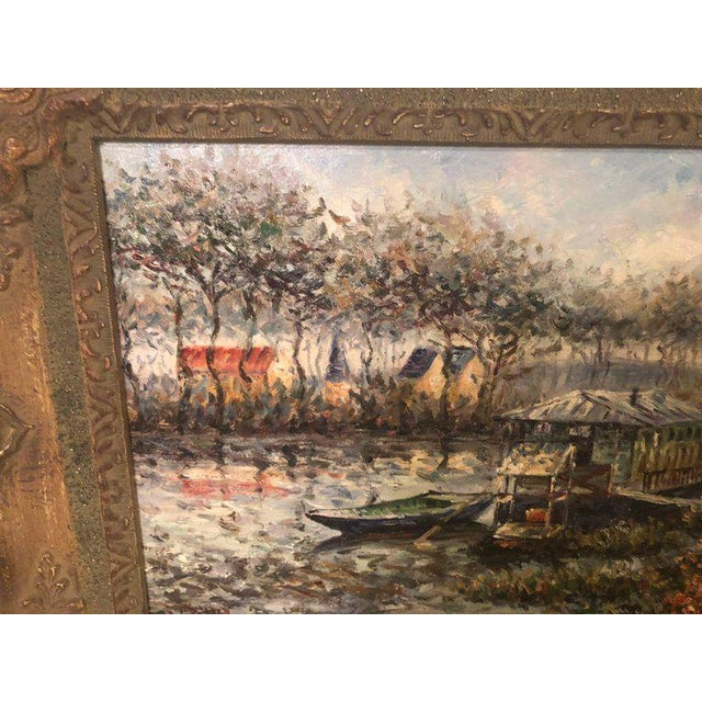 1980s Canal Scene Oil on Canvas Painting Signed For Sale - Image 5 of 8