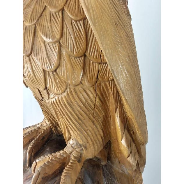 Superb Vintage Life Size 34 in Tall Golden Eagle Statue Hand Carved From One Piece of Wood For Sale - Image 9 of 13