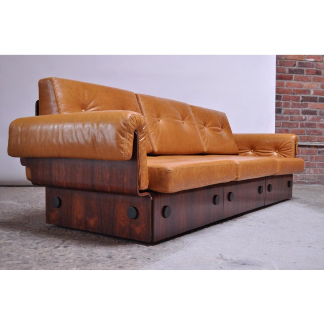 1960s Brazilian Modern Rosewood and Leather Modular Sofa or Settees - 4 Pc. Set For Sale - Image 5 of 13