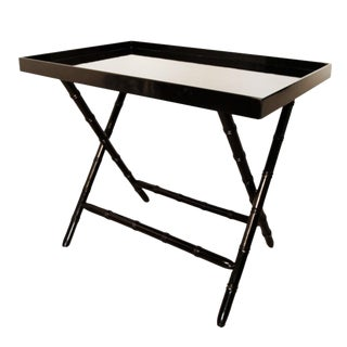 Black Lacquer Bamboo Motif Serving Bar Tray Table For Sale
