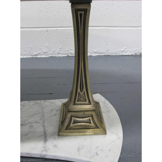 Italian Marble and Brass Oval Top Coffee Table - Image 5 of 6