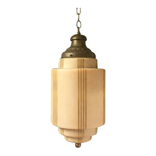 Early 20th Century Art Deco Opaque Glass and Brass Hanging Pendant Light For Sale