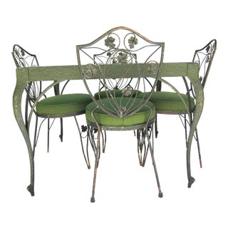 1950s Vintage French Wrought Iron Table & Chairs- 5 Pieces For Sale