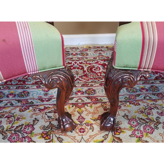 Martha Washington Mahogany Chippendale Style Southwood Furniture Gainsborough Armchairs - A Pair For Sale - Image 5 of 10