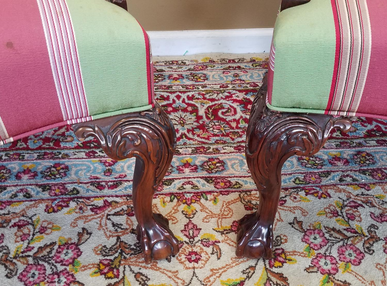 Martha Washington Mahogany Chippendale Style Southwood Furniture  Gainsborough Armchairs   A Pair   Image 5 Of