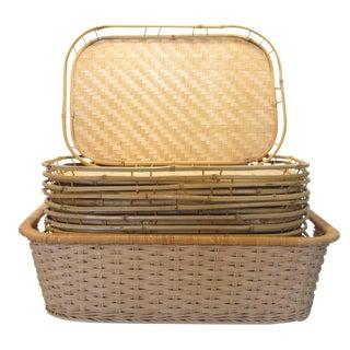 Bamboo Wicker Trays & Basket, S/17