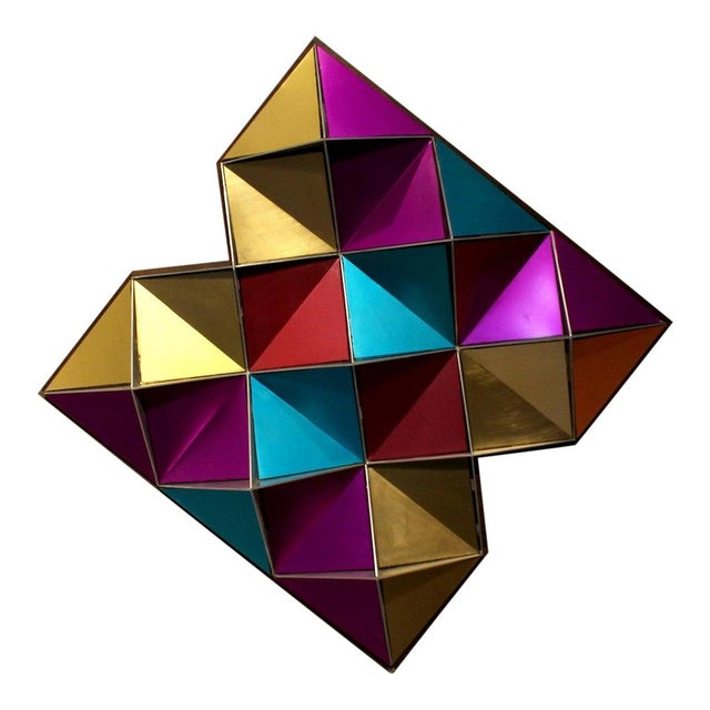 1970's Anodized Aluminum Three Dimensional Geometric Wall Art For Sale - Image 9 of 9