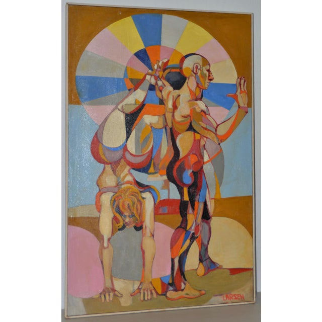 """""""A Day at the Beach"""" Original Painting by Larsen C.1950s For Sale - Image 11 of 11"""