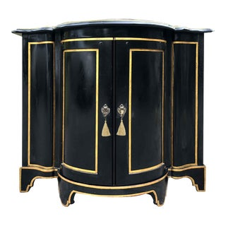 Baker Chinoiserie Black Lacquer Demi-Lune Commode For Sale