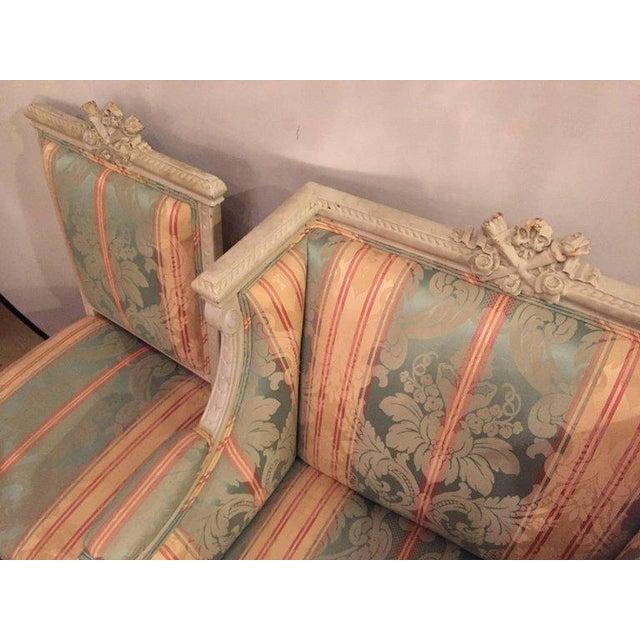 Swedish Fashioned Louis XVI Style Salon Suite, Off-White Paint Decorated Finish - Image 4 of 10