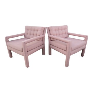 1970s Vintage Milo Baughman Style Square Arm Chairs- A Pair For Sale
