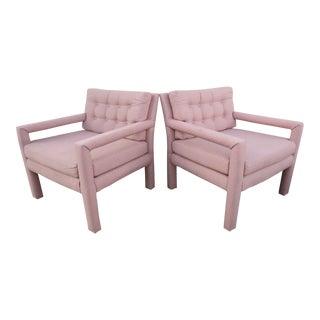 1970s Vintage Milo Baughman Style Square Arm Chairs- A Pair For Sale