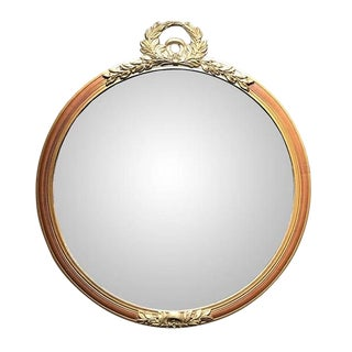 Round Floral Motif Gilt Hand-Carved Gold Mirror in French Napoleon Neoclassical Style With Crest For Sale
