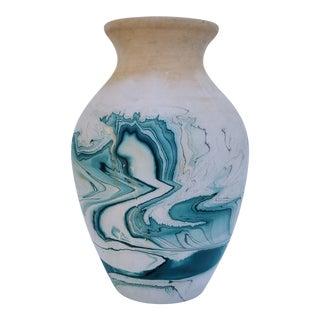 1970s Contemporary Emerald Swirl Nemadji Pottery Vase For Sale