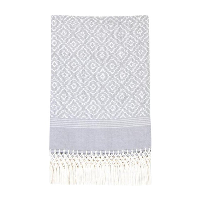Gray Diamond Handwoven Throw - Image 1 of 6