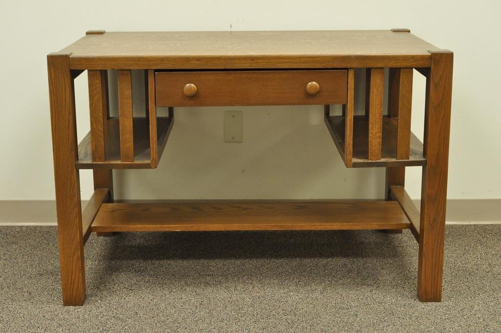 Antique Mission Arts And Crafts Oak Writing Library Desk Table Bookcase  Sides   Image 2 Of