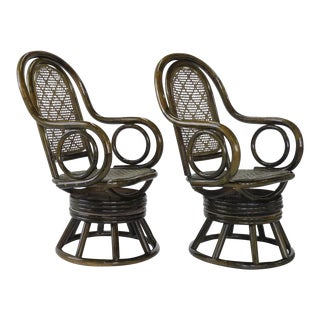 Mid-Century Modern Paul Frankl Style Bent Rattan & Wicker Swivel Armchairs - A Pair
