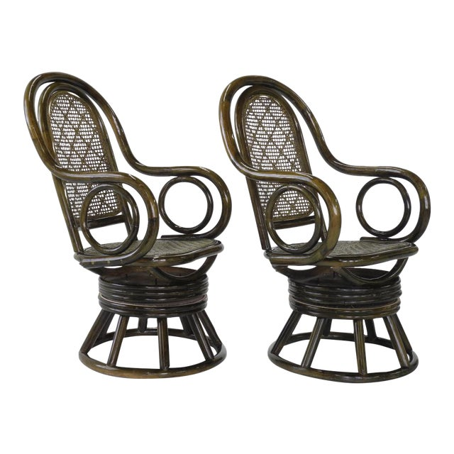 Mid-Century Modern Paul Frankl Style Bent Rattan & Wicker Swivel Armchairs - A Pair - Image 1 of 10