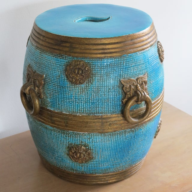 1950s Vintage Ugo Zaccagnini Ceramic Pottery Chinoiserie Garden Stool For Sale - Image 13 of 13