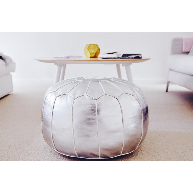 Silver Moroccan Leather Pouf/Ottoman - Image 8 of 8