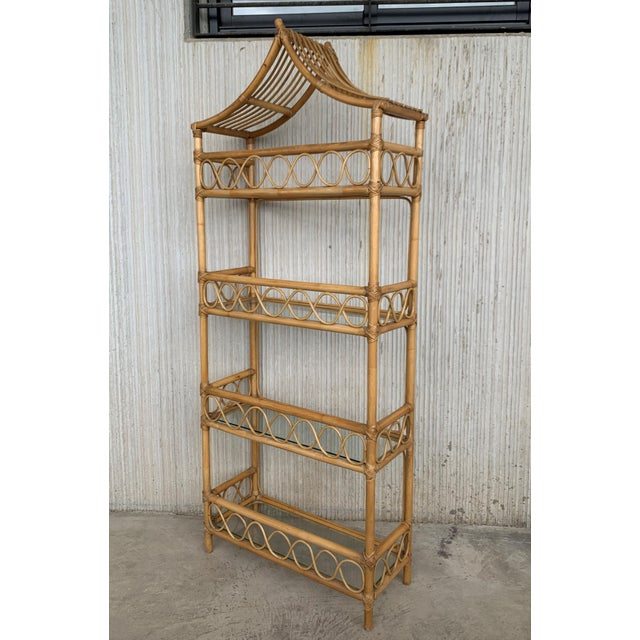 1950s 20th Midcentury Bamboo and Glass Étagère, Pagoda Style. Four Shelves For Sale - Image 5 of 7