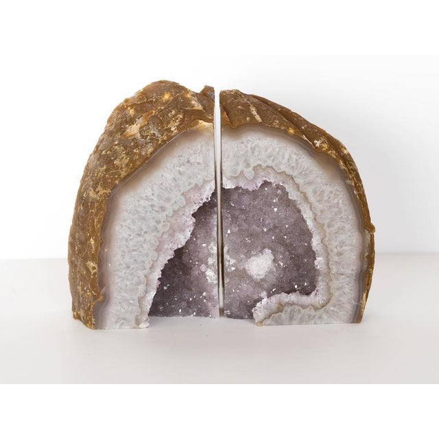 Purple Organic Modern Crystal & Agate Bookends with Amethyst Center For Sale - Image 8 of 8