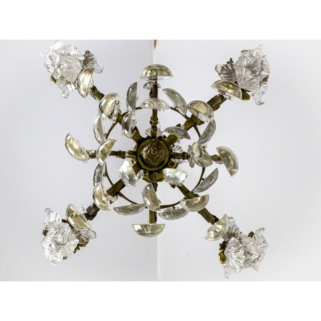 Gold Bronze Belle Epoch Glass Flower and Smooth Almond Crystal Chandelier For Sale - Image 8 of 11