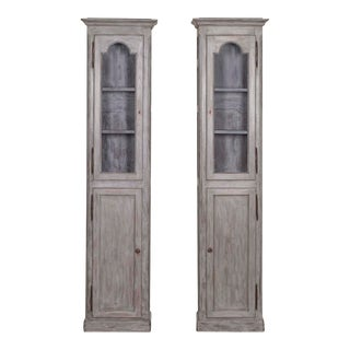 Late 19th century Antique French Painted Oak Cabinets - a Pair For Sale