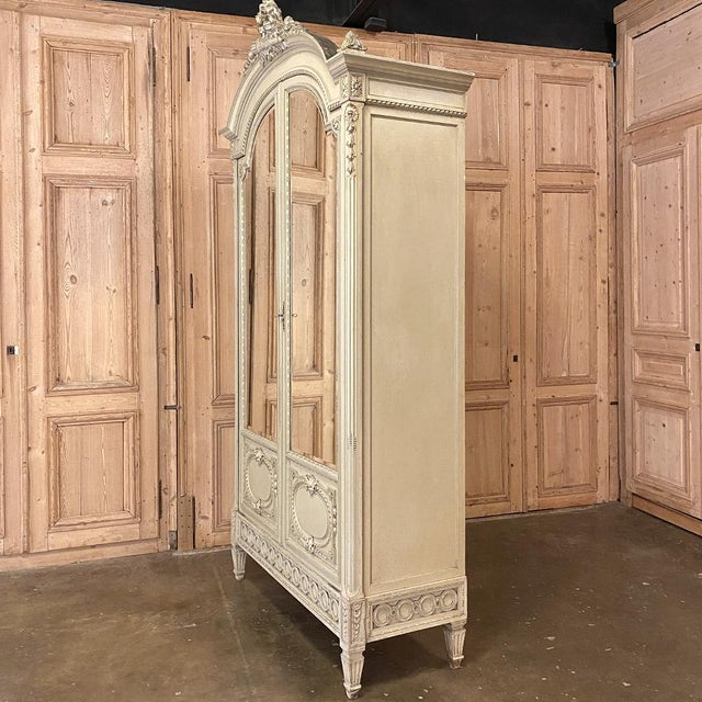 19th Century French Louis XVI Painted Armoire For Sale - Image 4 of 13