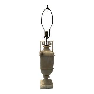 Vintage Alabaster Lamp With Greek Key Handles For Sale
