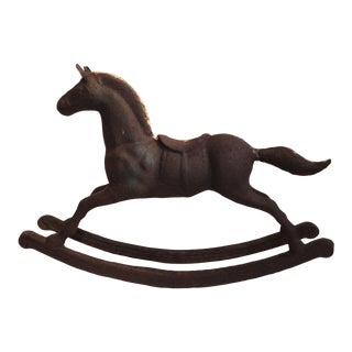 Monumental 19th Century Cast Iron Carousel Child's Rocking Horse For Sale