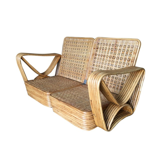Restored Paul Frankl Six-Strand Wicker Rattan Sofa Living-Room Set W/ Side Table and Ottoman For Sale - Image 9 of 10