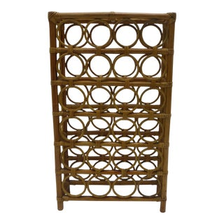 Mid-Century Rattan 24 Bottle Wine Rack For Sale