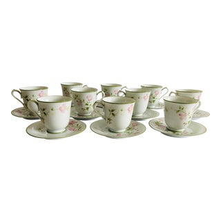 Noritake (10) Tea/Coffee Cups & Saucers First Blush Pattern For Sale