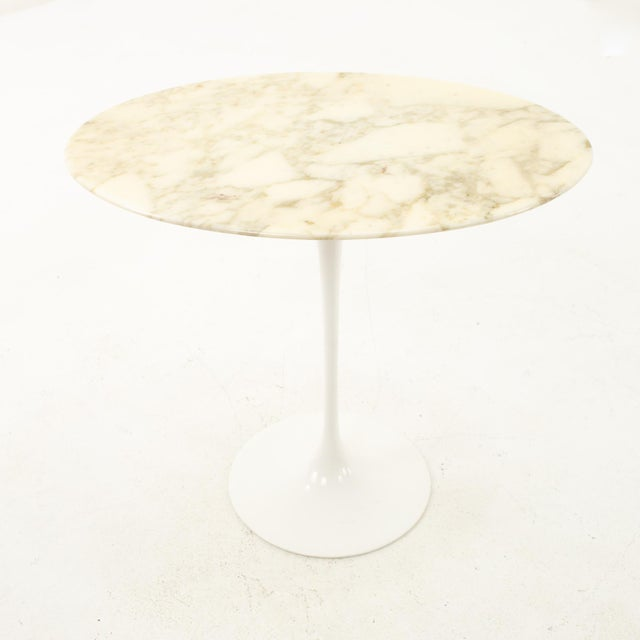 Stone Knoll Mid Century Oval Marble Top Side End Tables With Tulip Base - a Pair For Sale - Image 7 of 12
