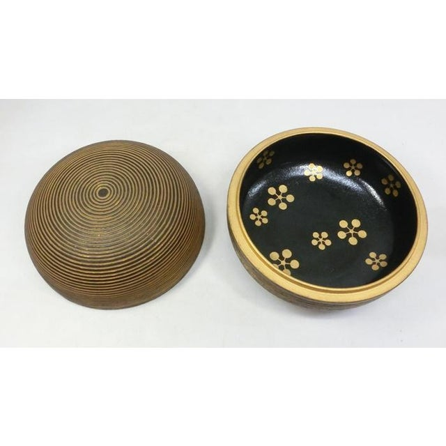 Gold Japanese Ceramic Gilded Gold Black Lidded Container Dome Shape Art Deco Style Box Asian For Sale - Image 8 of 12