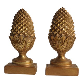 Borghese Gilt Pineapple Bookends - a Pair For Sale