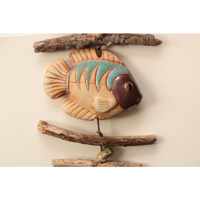 American Hazel Olsen Driftwood and Pottery Fish Windchime For Sale - Image 3 of 6