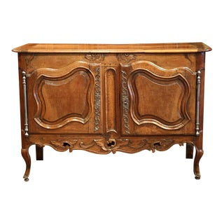 Mid-18th Century French Louis XV Hand-Carved Walnut Buffet from Provence For Sale