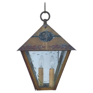 Early 20th Century Antique French Tole Painted Lantern For Sale