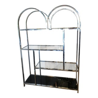 Vintage Milo Baughman Style Chrome Glass Display Shelf Shelves Etagere For Sale