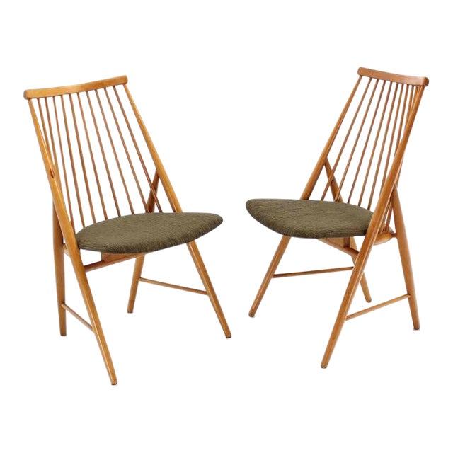 Pair of Swedish Spindle Dowel Back Chairs For Sale